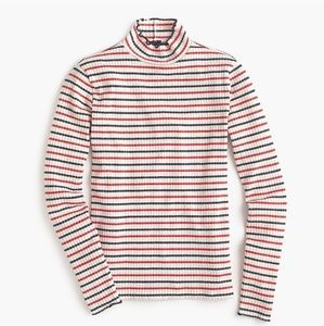 J Crew size L Ribbed Mockneck T shirt in Stripes